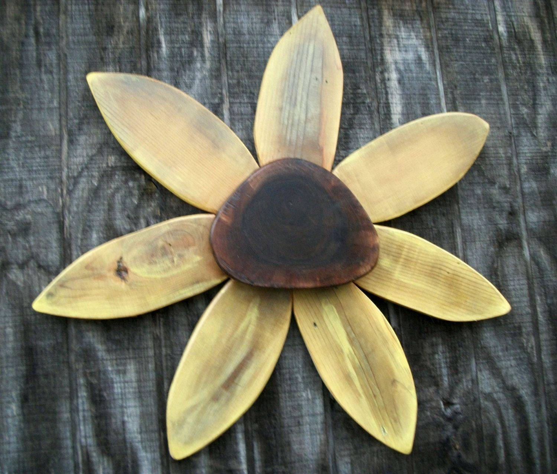 Rustic wreath wooden sun flowerwall art with black walnut wooden