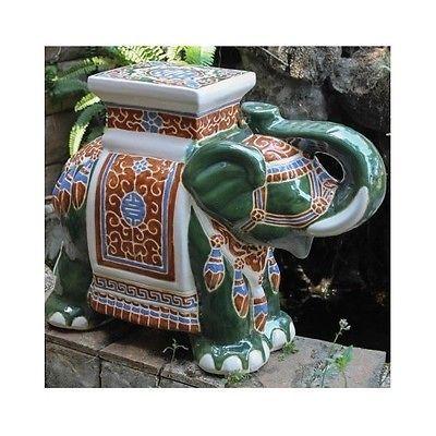 Porcelain Garden Stool Glazed Ceramic Elephant Plant Stand Patio Accent  Table
