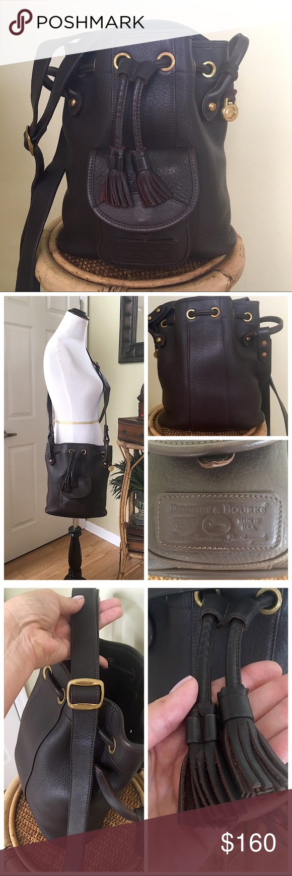 Vintage Dooney Bourke Glove Leather Drawstring Gorgeous Db Tanned