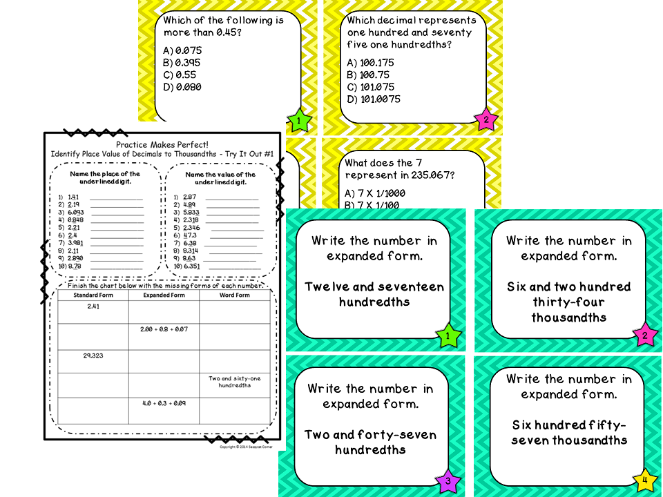 Place Value Files Naming Decimal Numbers To Thousandths Task Cards