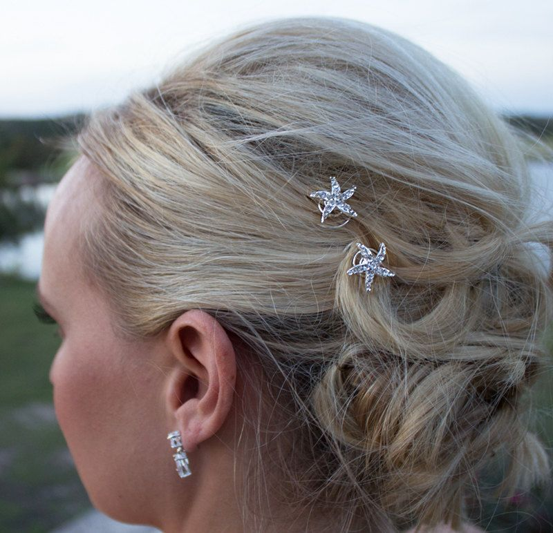Rhinestone Starfish Wedding Hair Twist Ins Set Of 6 Accessories