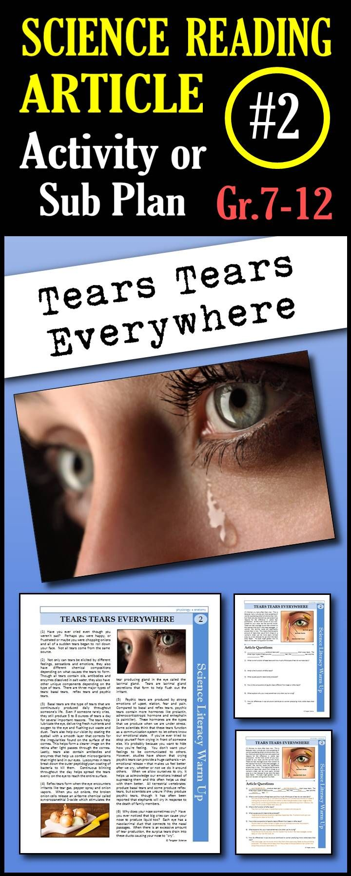 In This Article Students Will Read About The Differences In The Three Types Of Tears Humans Produce The Composition Science Reading Science Literacy Science
