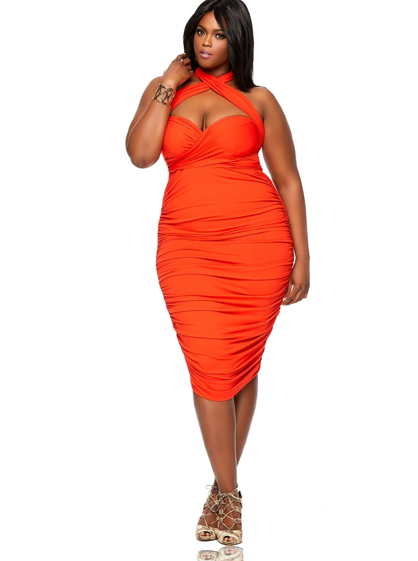 Rayon Marilyn Ruched Convertible Dress Persimmon Marilyn