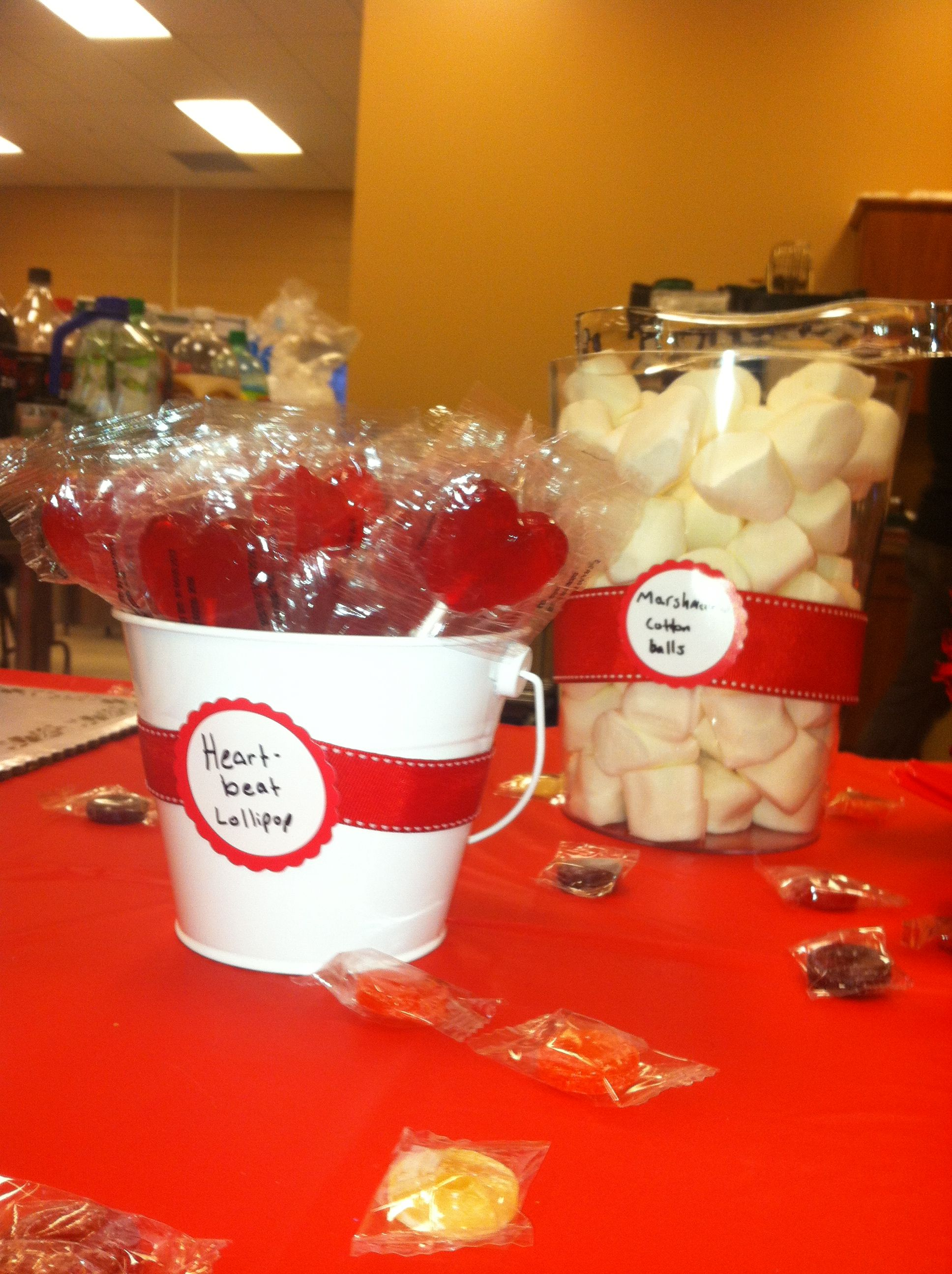 """""""Heart beat"""" lollipops & """"cotton balls"""" (large marshmallows)- medical themed party"""