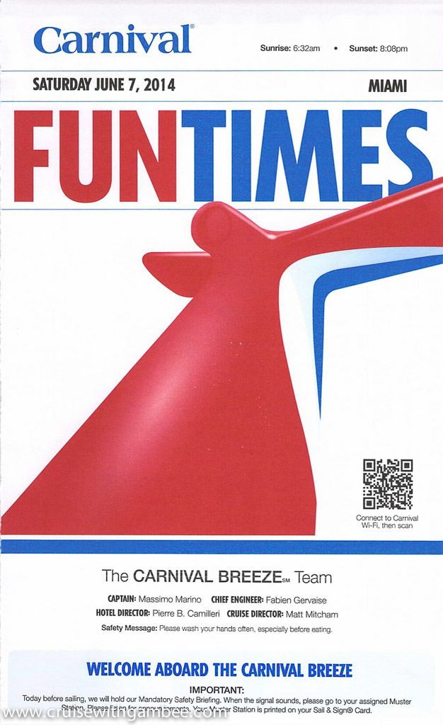 Carnival Breeze 8 Day Daily Funtimes Itinerary Carnival Breeze