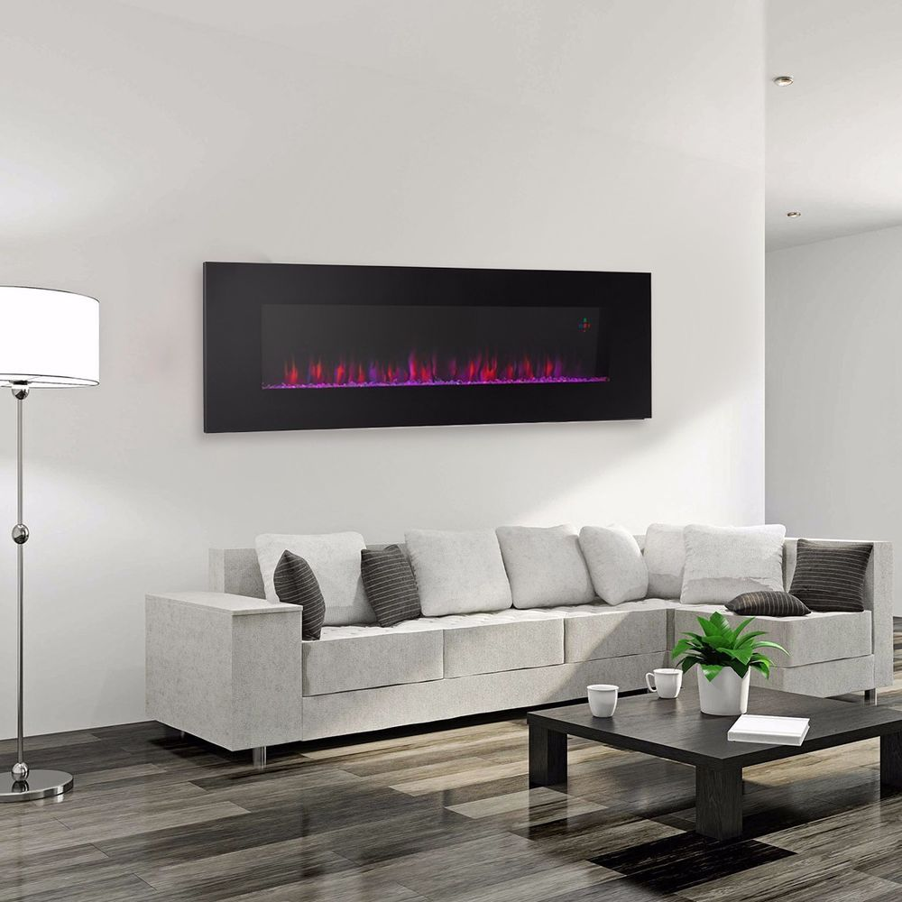 "Contemporary Electric Fireplace Black 50"" Wall Mount ..."