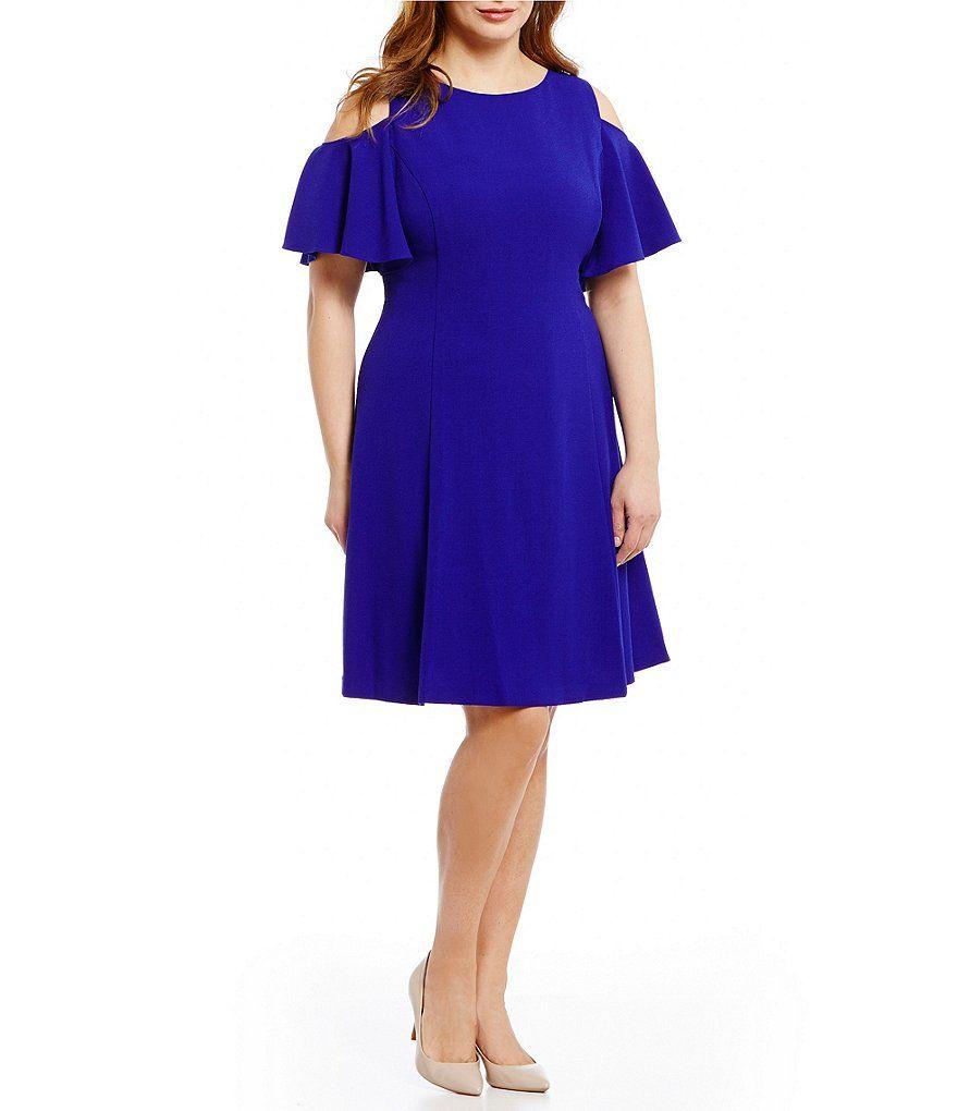7d72f0fe2c8 Shop for Eliza J Plus Cold-Shoulder Fit-and-Flare Dress at Dillards.com.  Visit Dillards.com to find clothing