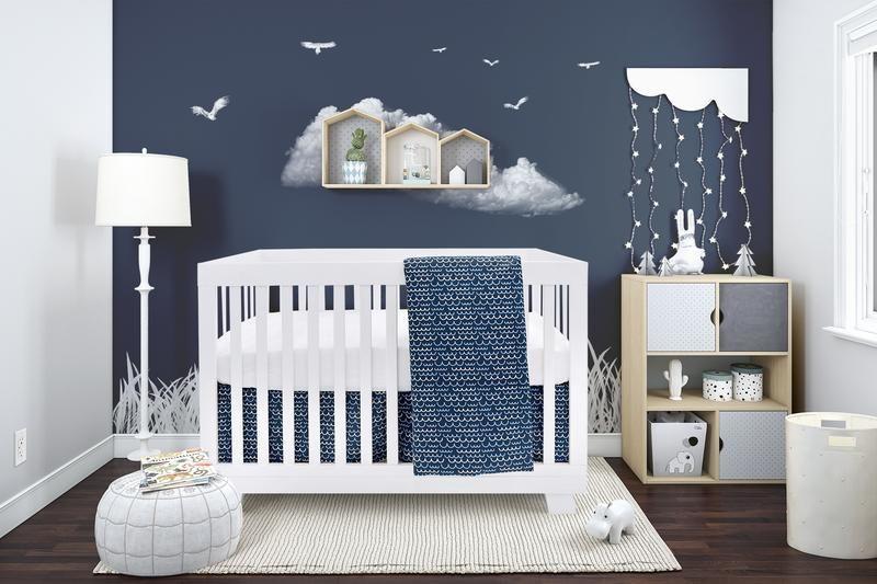 Literie 4 Morceaux Pour Bebe Bleu Marin Et Blanc Avec Un Motif De