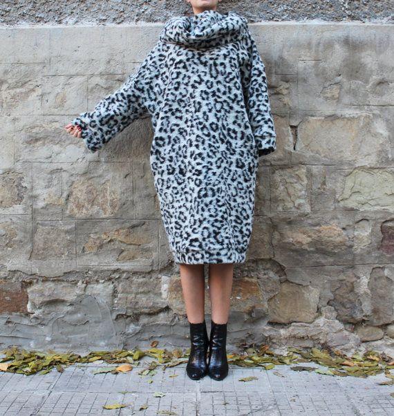 Black and White Wool Maxi dress, Jumper dress, Turtleneck dress, Hooded dress, Oversized dress, Wool dress,Fall Winter dress, Casual dress
