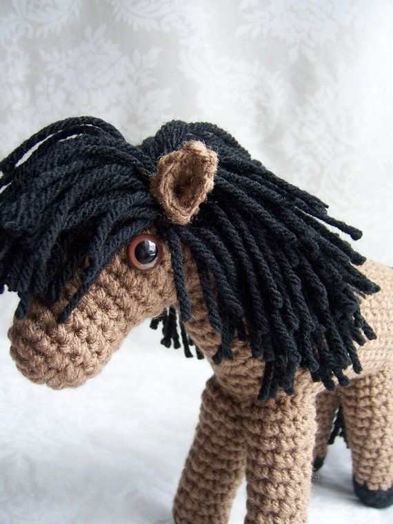 Small Crochet Pony - Your Choice of Black, Tan, White, or Brown #crochetpony