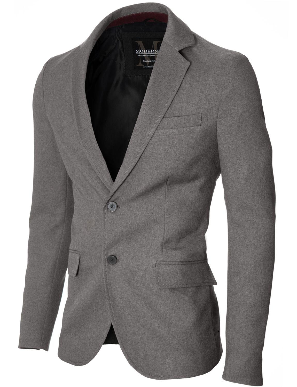 MODERNO Slim Fit Herren Sakko Blazer (MOD14514B) Grau