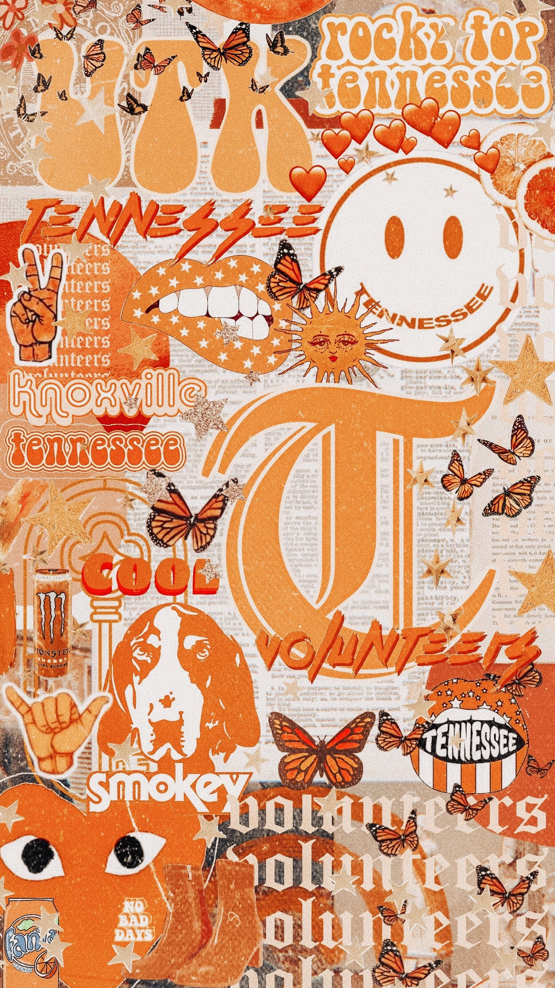 University Of Tennessee Iphone Wallpaper Vintage Tennessee Aesthetic Wallpaper Wall Collage