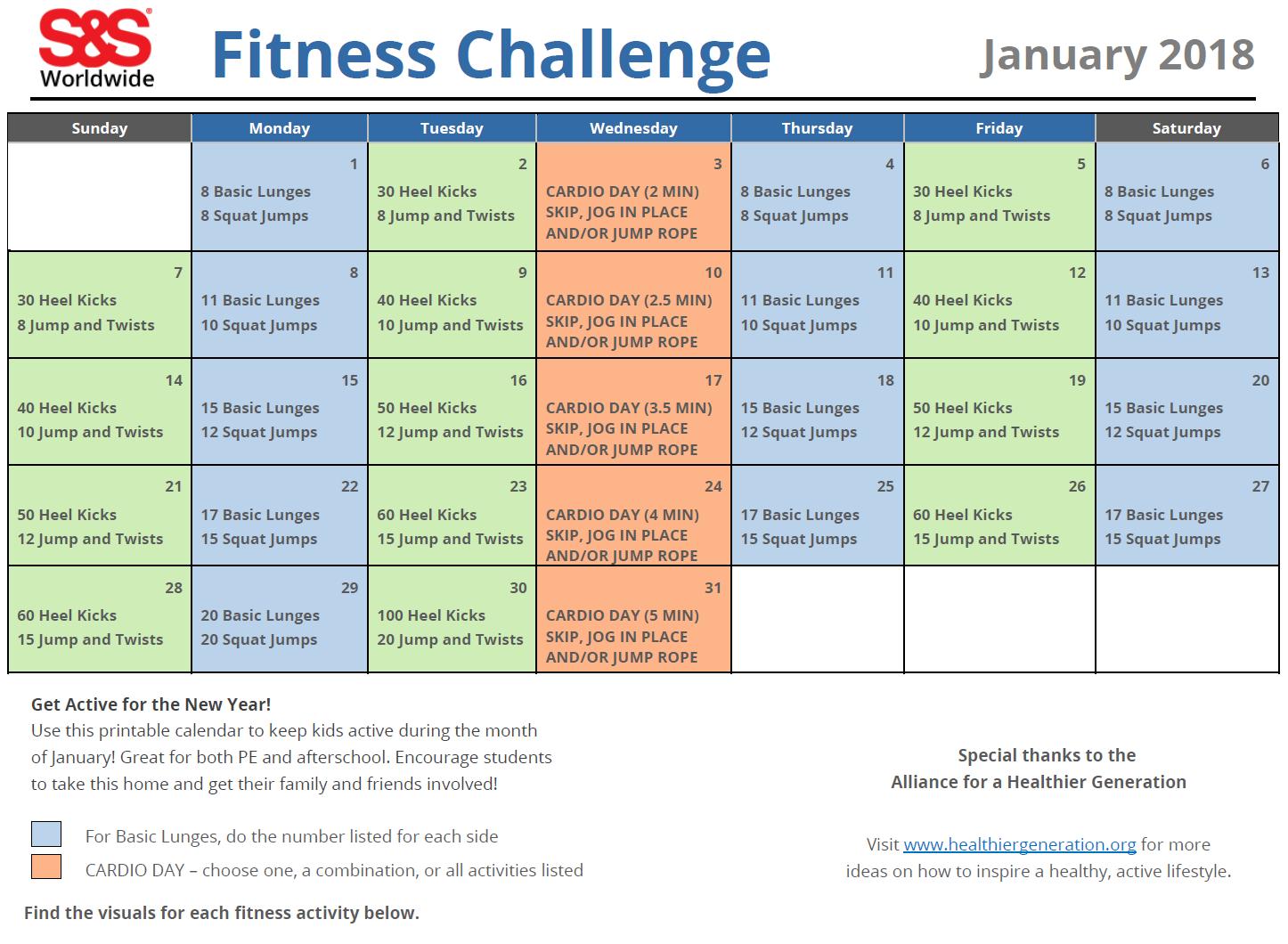 Printable Fitness Challenge Calendar For Kids