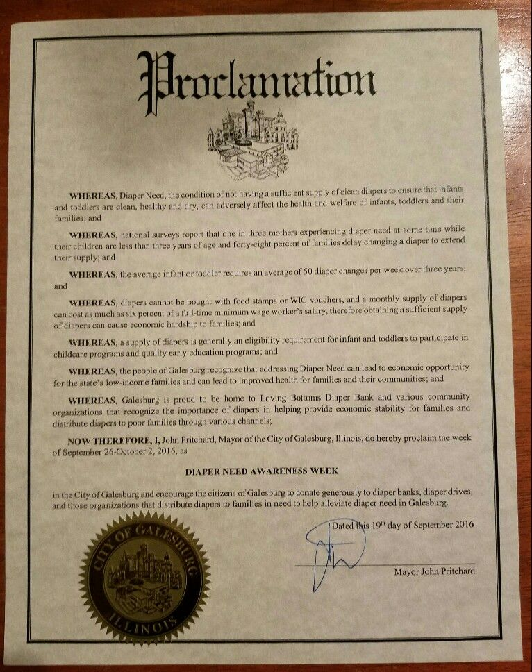 GALESBURG, IL- Mayoral proclamation recognizing Diaper Need Awareness Week (Sep. 26-Oct. 2, 2016) #DiaperNeed Diaperneed.org