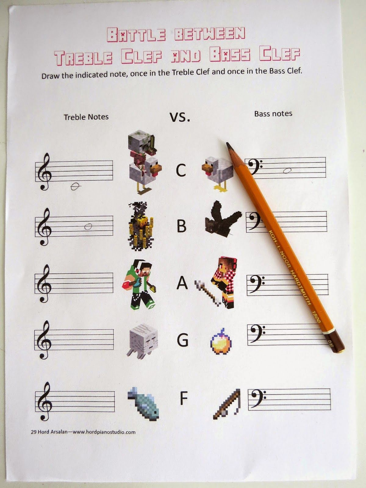 Minecraft Themed Music Worksheets