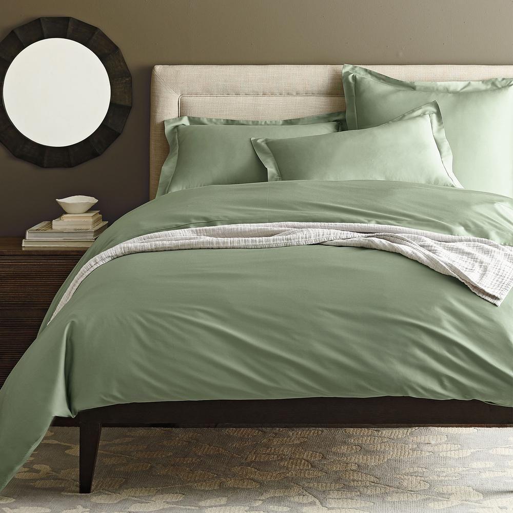 Chambray Olive Green Linen Duvet Cover Weaved Striped Linen Duvet Cover Custom Size Duvet Cover