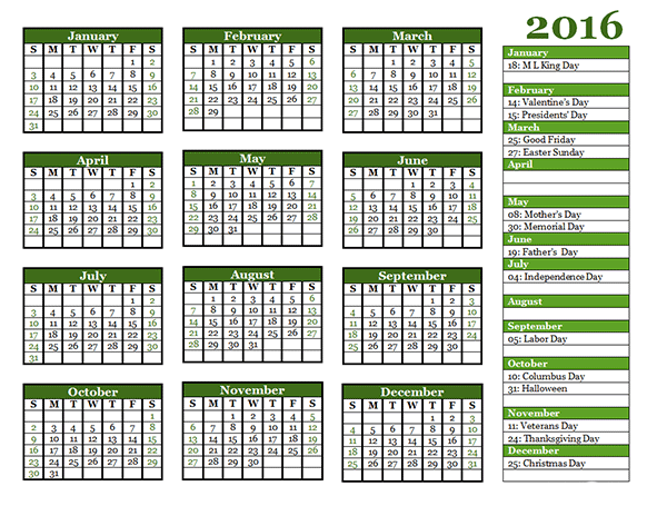 Yearly Calendar Template   I Desktop Backgrounds I
