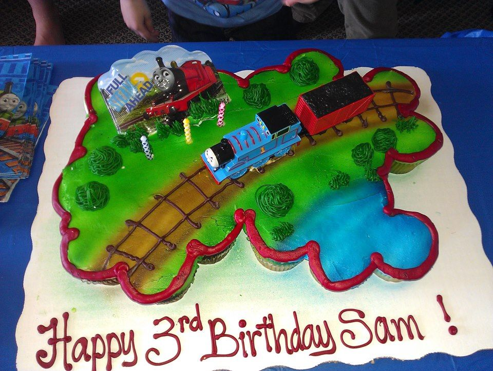 Cupcake Cake From Walmart Thomas The Train 24 Total Cupcakes Half Chocolate Vanilla My Little Guy Loved This Easy To Serve And Clean Up
