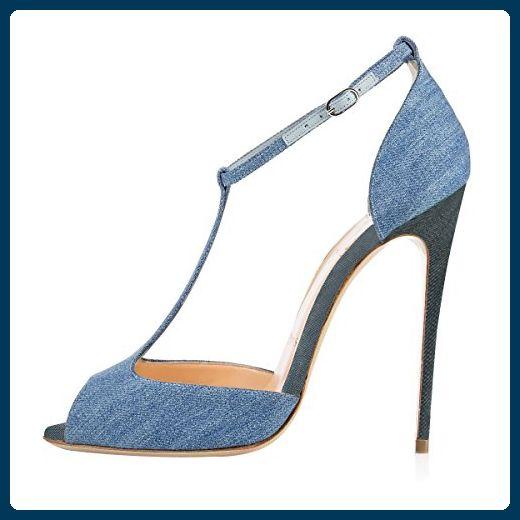 500f7d8922f216 Onlymaker Damen Sandalen High Heels Stiletto mit Fesselriemen T-Spangen  Peep Toe Sommer Schuhe Denim
