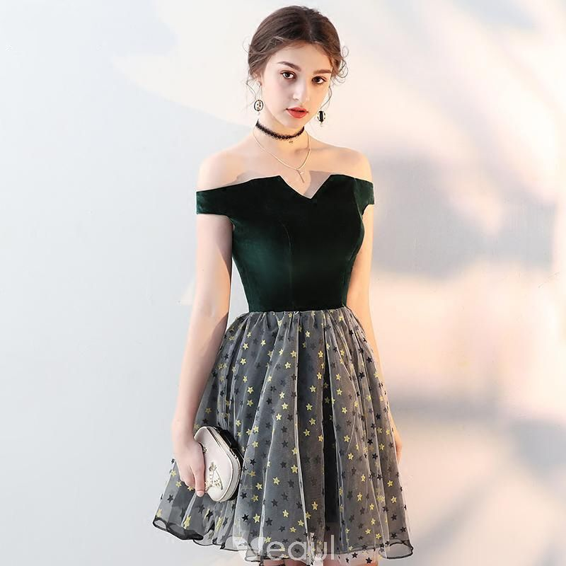be87562310 Modern   Fashion Dark Green Suede Party Dresses 2018 A-Line   Princess  Amazing   Unique Off-The-Shoulder Short Sleeve Star Short Ruffle Backless  Formal ...