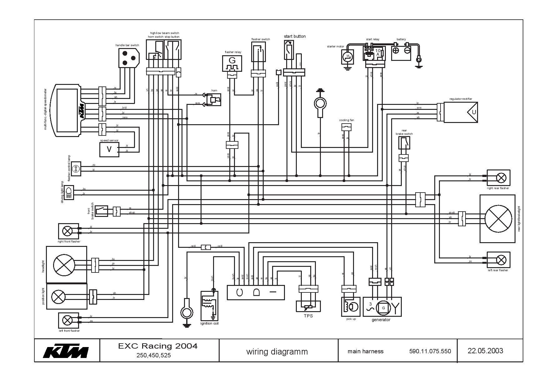 Ktm 250 450 525 Exc Sc 2004 Schema Electrica Pdf Download Service Manual Repair Manual Pdf Download Repair Manuals Ktm Ktm 250