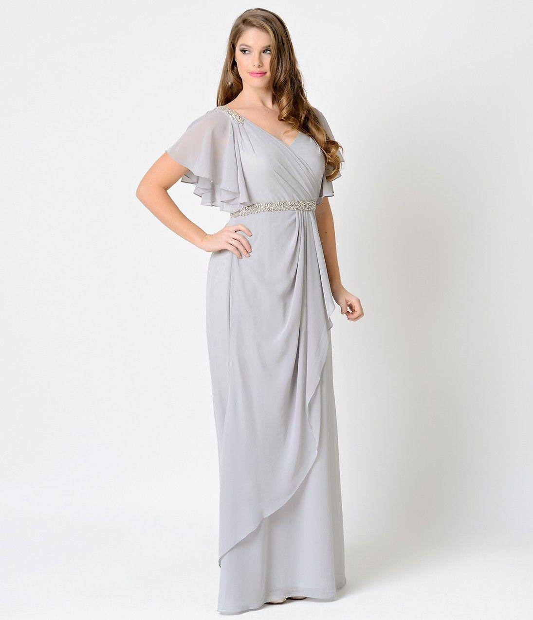 1930s Silver Grecian Flutter Sleeve Chiffon Long Evening Gown ...