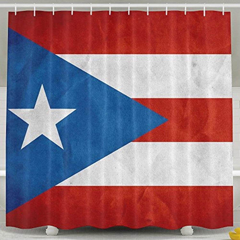 Bestsc Mildew Resistant White Shower Curtains Puerto Rico Flag