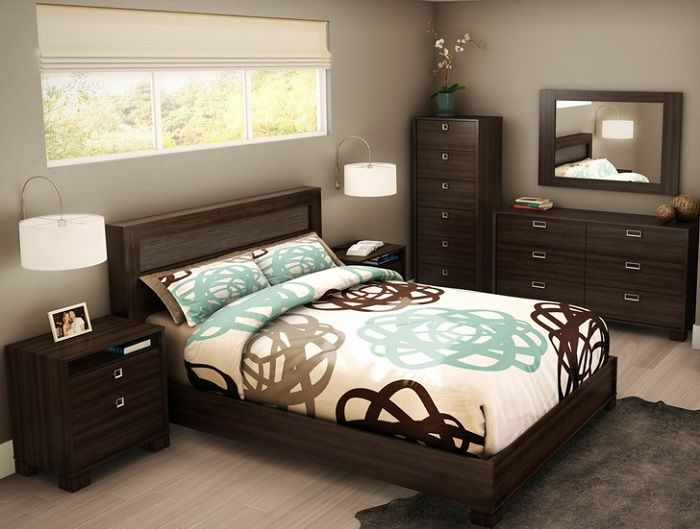 Luxurious Men Bedroom Ideas With Neutral Color Comfortable Mens Dark Wooden Furniture