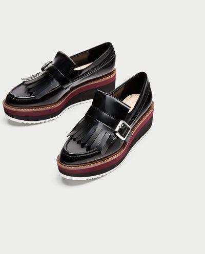 Imagem 5 De Mocassins Plataforma Franjas Da Zara Platform Loafers Loafers Fringe Shoes