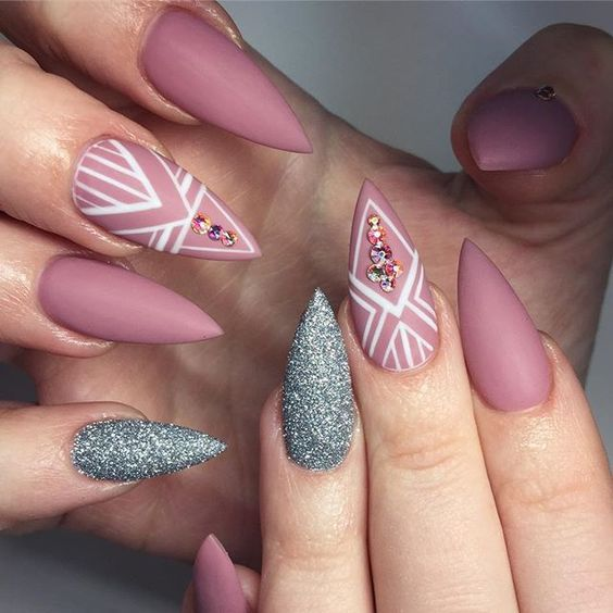 40 New Acrylic Nail Designs To Try This Year | Glitter nail designs ...