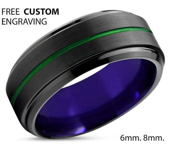 Simple Ring Promise Ring Tungsten Ring 6mm Engagement Ring Mens Wedding Band Black Ring Rings for Men Wedding Ring Rings for Women