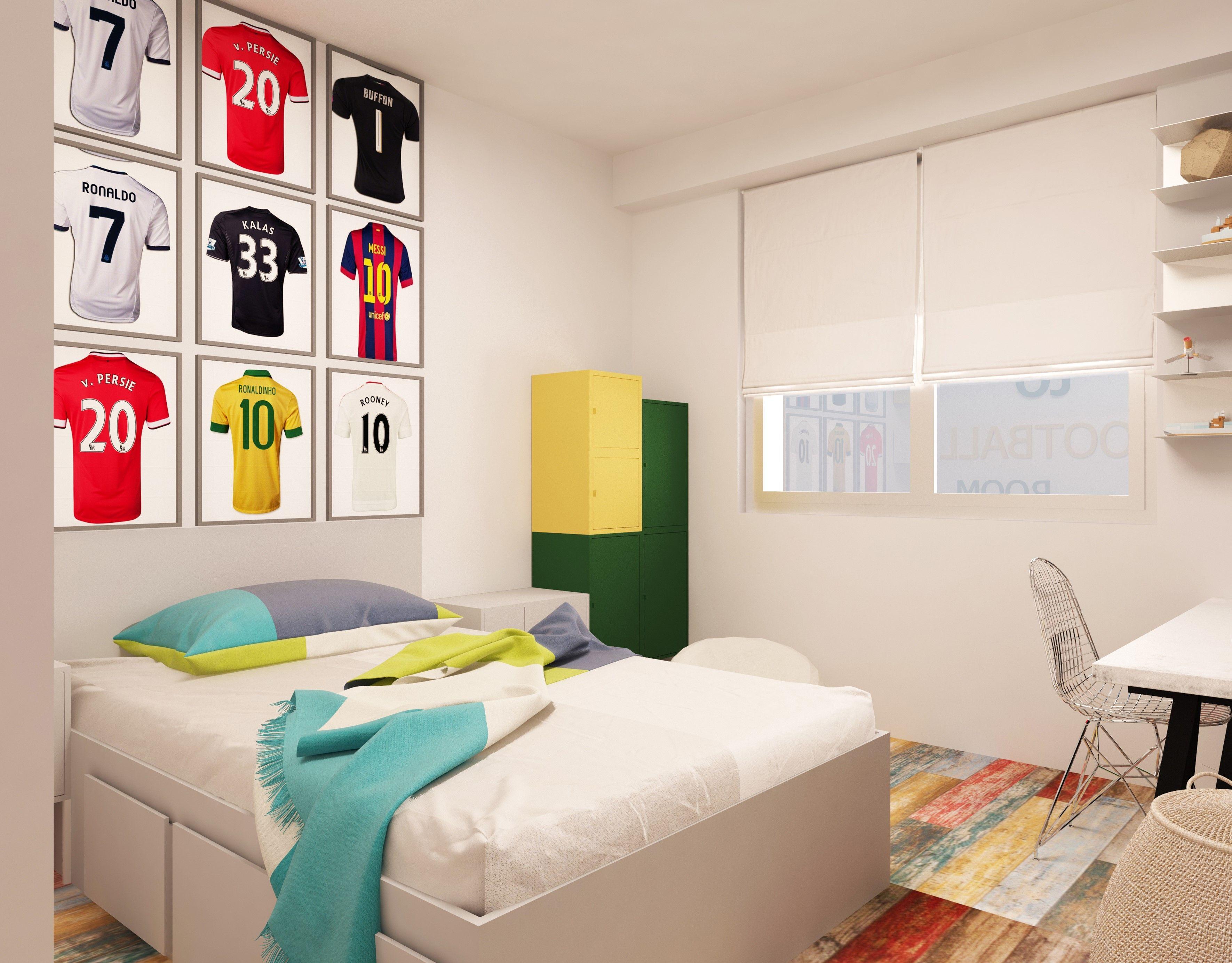 interiordesign #cyan #bedroom #bed #whitesheets#beige #shelves