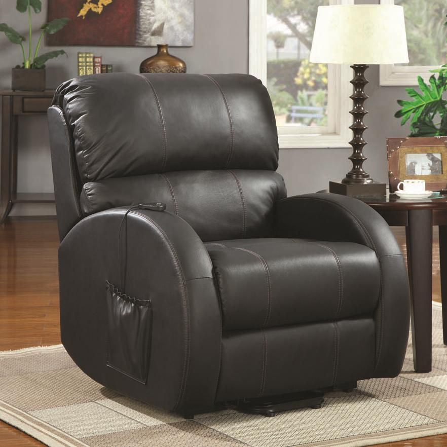 Geraldine Power Lift Recliner Black Size Standard Bonded Leather