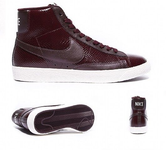 nike premium mid top leather blazer trainers in burgundy