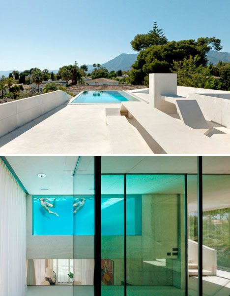 House Under Pool jellyfish house: cantilevered rooftop pool with glass floor