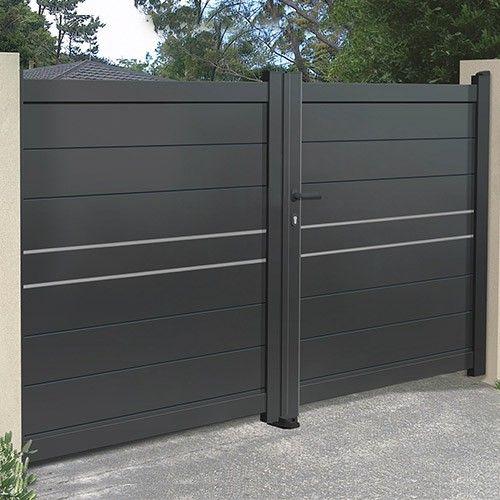 portail alu 2 battants droit plein emalu dijon disponible en gris ou blanc de 3m 5m. Black Bedroom Furniture Sets. Home Design Ideas