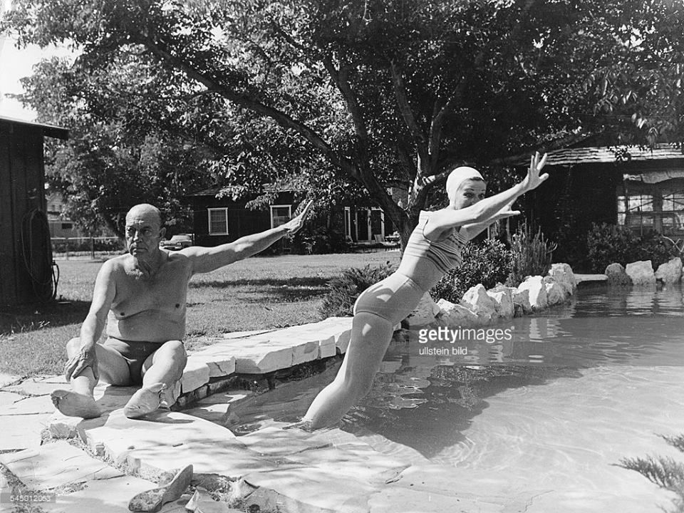 That's not nice Buster! - Buster and Eleanor kidding around in their pool  at their Woodland hills home | Eleanor and Buster Keaton | Pinterest