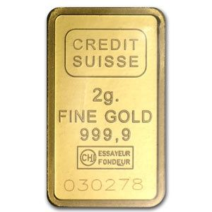 Credit Suisse 2 Gram Gold Bar .9999 Fine CREDIT_SUISSE_GOLD_BAR_2_GRAM - $152.35