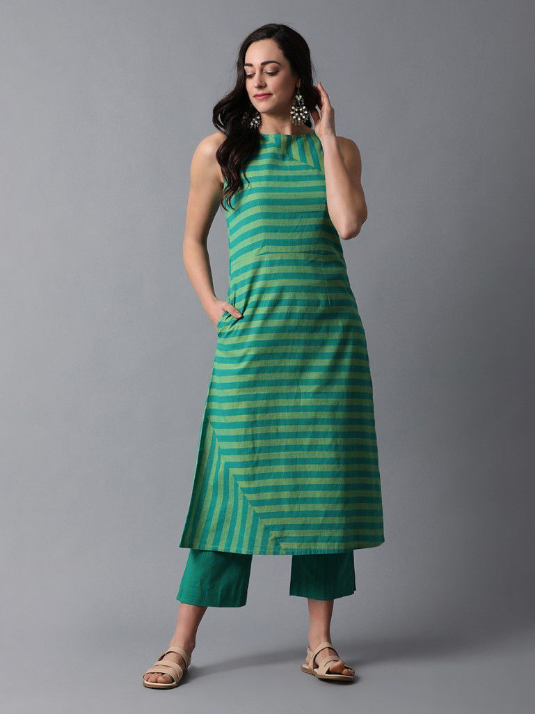 294fee6dd1 Buy Green Cotton Sleeveless Striped Kurta with Pants- Set of 2 online at  Theloom