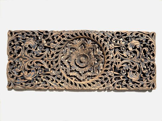 Hand Carved Wood Panel. Wall Art Sculpture. Teak Wood Carving From ...