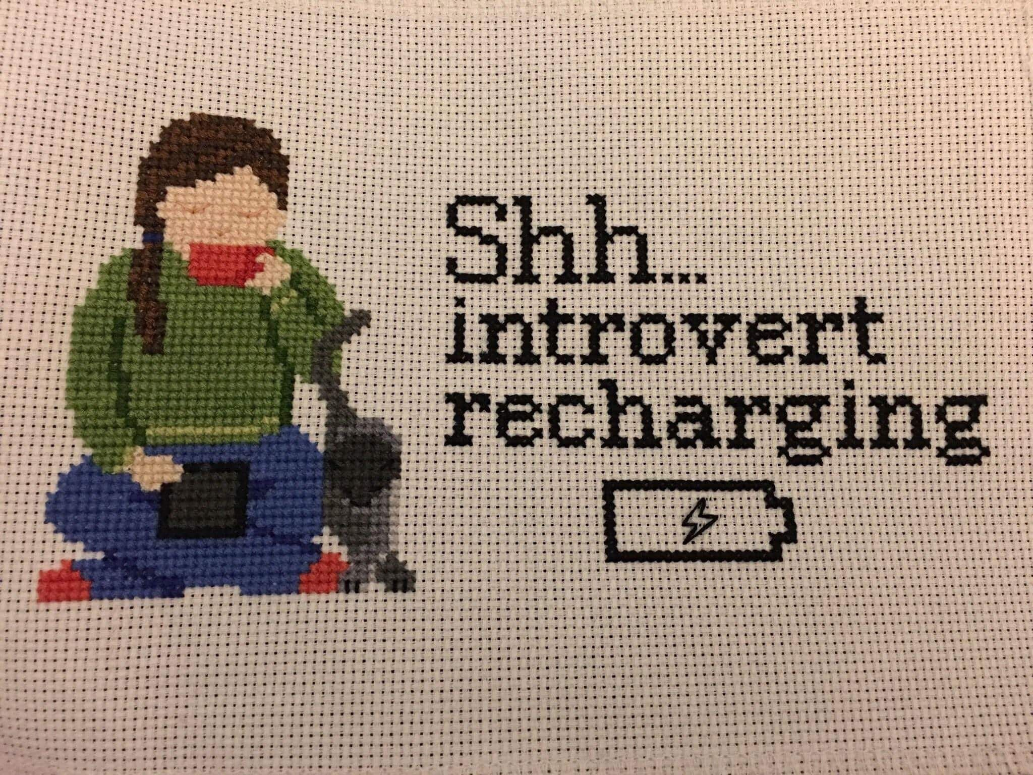Introvert needlepoint pinterest cross stitch stitch and cross
