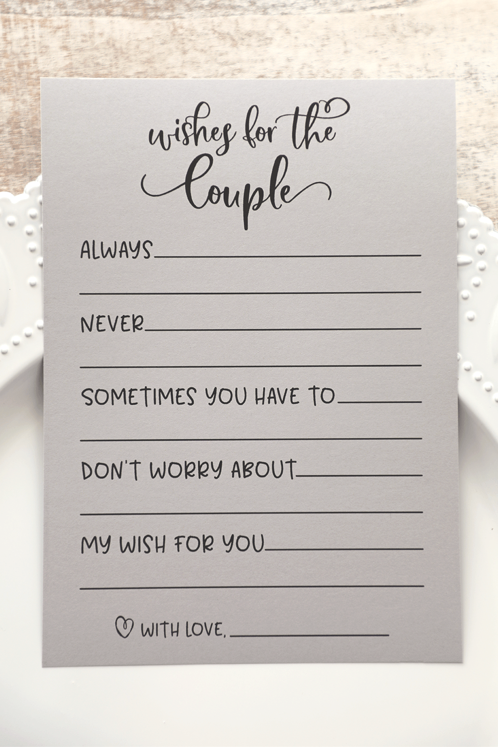 Grey Wishes for the Couple . Wishes for the Couple . Bridal Shower Games . Wedding Shower Games . Couples Shower . Print