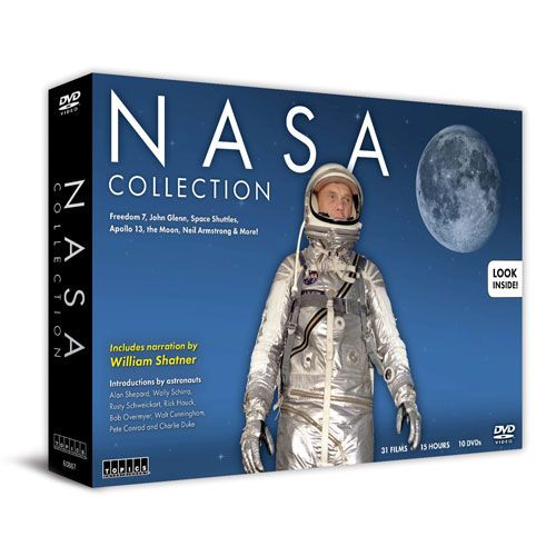 NASA Collection DVD  Space shuttles, astronauts, Orson Welles, oh my!  Narrow escapes, unknown places, shocking stories: Americans go to space in this special 10 DVD collector's set!  Hear from actual astronauts and watch 31 films on the Friendship 7, the Gemini, the Apollo, the space shuttle, the moon, space experiments and more. Includes narration by legendary Star Trek actor William Shatner!  (10 DVD) approx. 15 hrs.