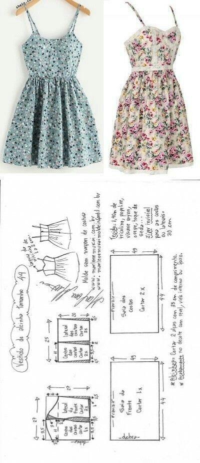 Vestido de alcinha com saia franzida   Costura, Molde y Vestiditos