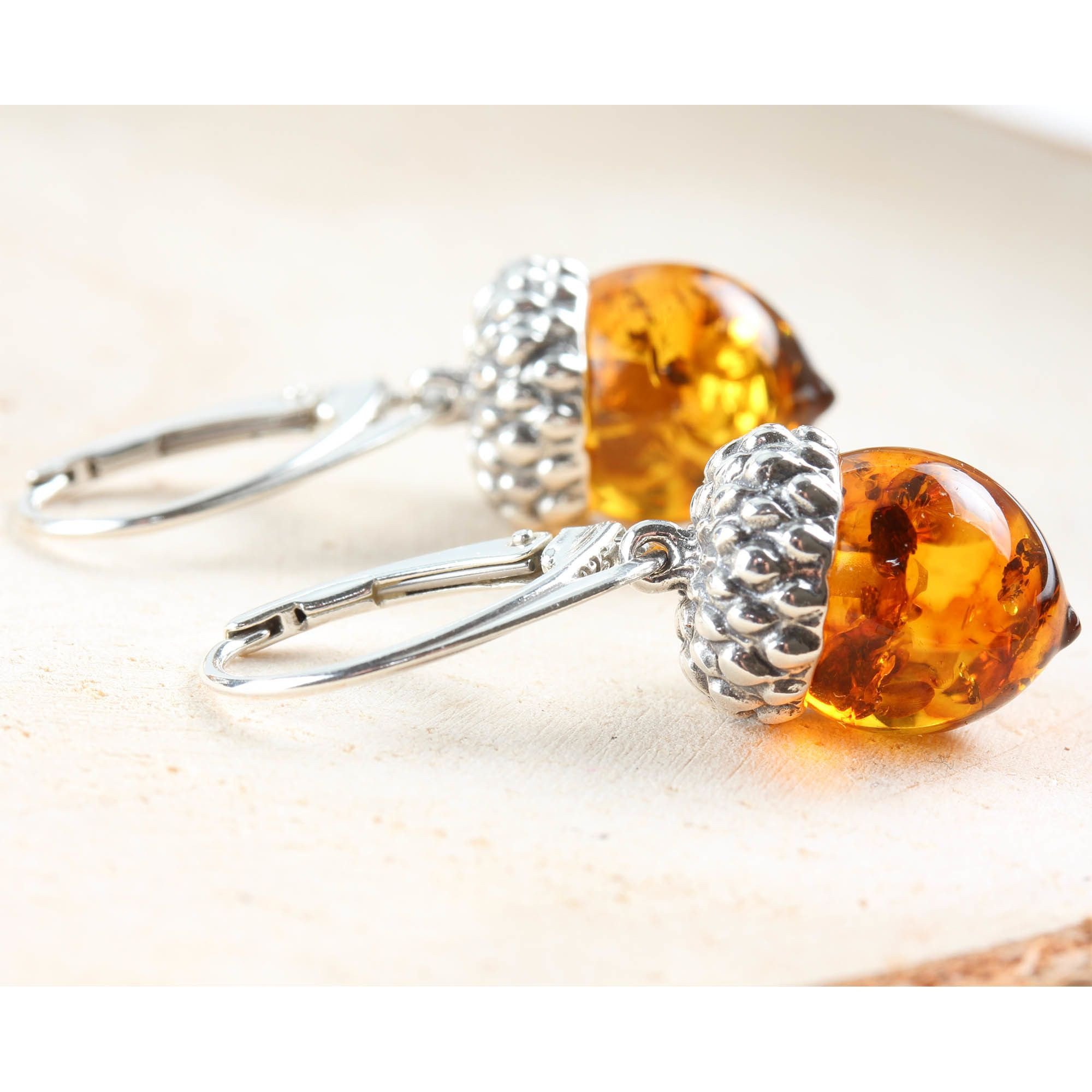 aa5e2bc56 Baltic Amber Acorn Earrings Sterling Silver in 2019   Victoriano ...