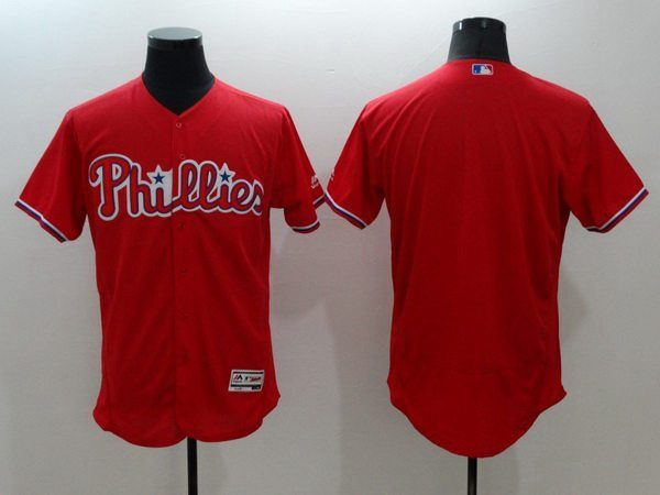 Men's Philadelphia Phillies Blank Red 2016 Flexbase Majestic Baseball Jersey