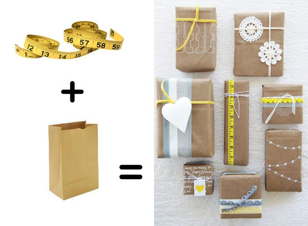 Measuring tape pops against plain brown paper: