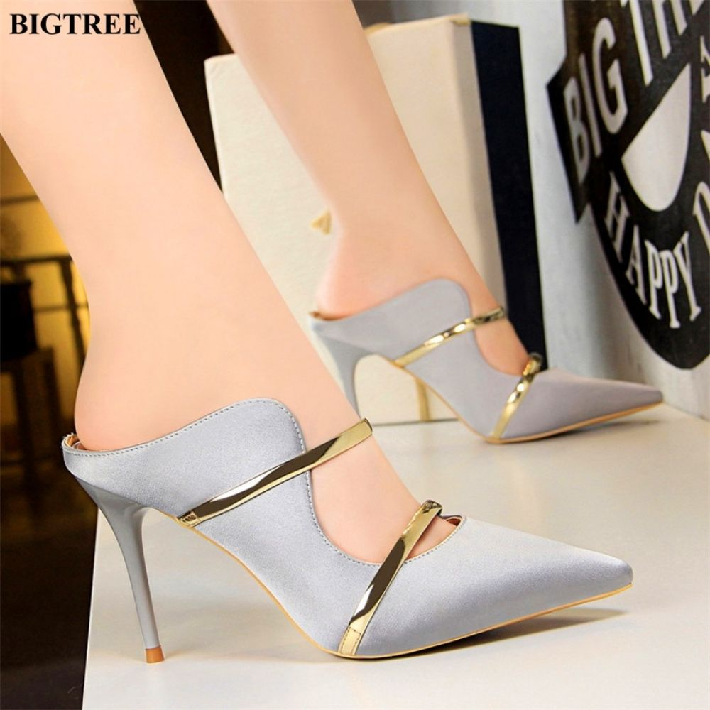 0d2dd0587 New Two Gold Word Band Sexy Cut-Outs Women Slippers Summer Concise Silk Pointed  High Heels Shoes Women's Shallow Party Slippers Price: 28.30 #tshirt