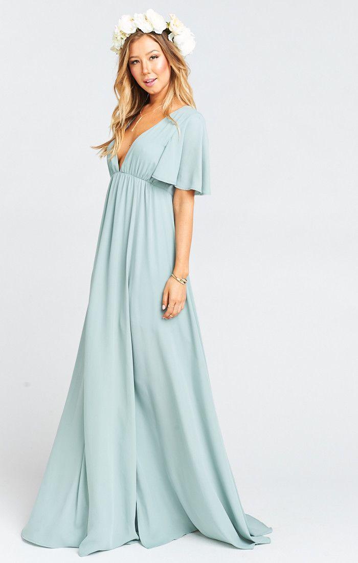 671a6ecf62 Faye Flutter Sleeve Bridesmaids Dress ~ Silver Sage Crisp