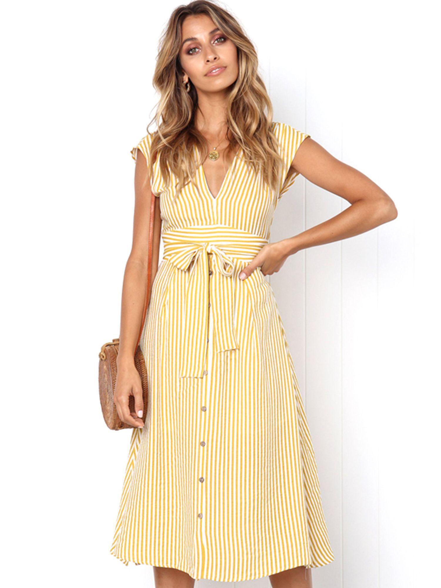 Wodstyle Women S Sleeveless V Neck Casual Party Beach Midi Dress Walmart Com Striped Midi Dress Midi Dress Casual Dresses [ 2000 x 1500 Pixel ]